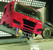 A fire apparatus cab undergoes cab integrity testing at CAPE.